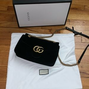 Gucci GG Black velvet shoulder bag